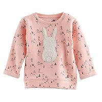 Jumping Beans® Baby Girl Fleece-Lined Fuzzy Animal Graphic Pullover Sweater