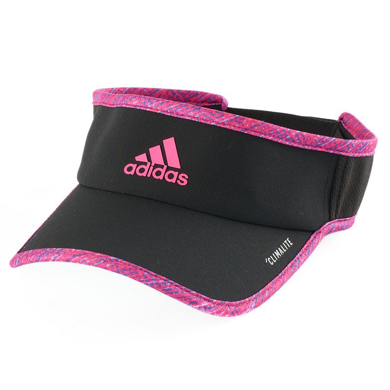 Women's Adidas Superlite Visor, Black This sleek, lightweight Adidas visor provides ultimate air flow, making it a great choice for running and training. ClimaCool mesh Moisture wicking technology FIT & Sizing 2 3/4-in. brim Adjustable circumference Hook & loop closure Fabric & Care Polyester Hand wash Imported Size: One Size. Color: Black. Gender: Female. Age Group: Adult.