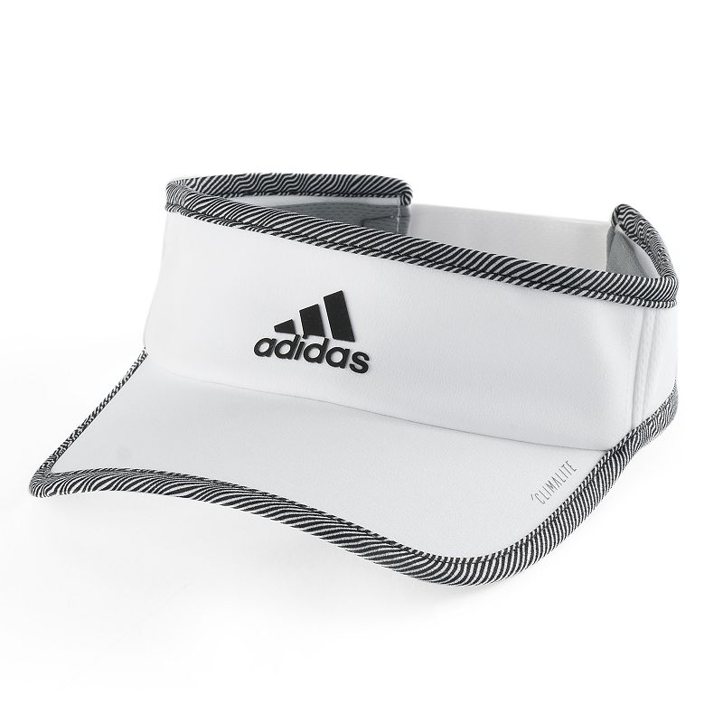 Women's Adidas Superlite Visor, White This sleek, lightweight Adidas visor provides ultimate air flow, making it a great choice for running and training. ClimaCool mesh Moisture wicking technology FIT & Sizing 2 3/4-in. brim Adjustable circumference Hook & loop closure Fabric & Care Polyester Hand wash Imported Size: One Size. Color: White. Gender: Female. Age Group: Adult.