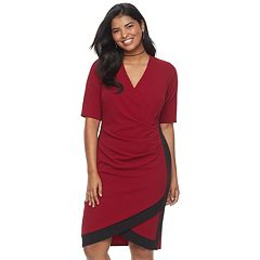Juniors' Plus Size Almost Famous Colorblock Faux-Wrap Dress