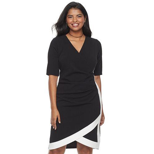 Juniors' Plus Size Almost Famous Colorblock Faux-Wrap Dress