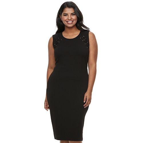 a1824e1651b Juniors  Plus Size Almost Famous Lace-Up Bodycon Dress