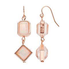 Iridescent Geometric Stone Double Drop Earrings