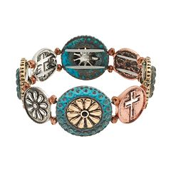 Believe In Tri Tone Cross Disc Stretch Bracelet