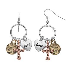 Believe In Heart & Cross Charm Drop Earrings