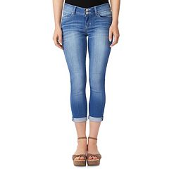 Juniors' Wallflower Cuffed Crop Skinny Jeans