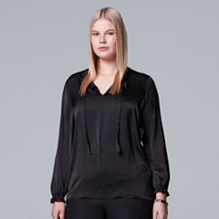 Plus Size Simply Vera Vera Wang Textured Satin Top