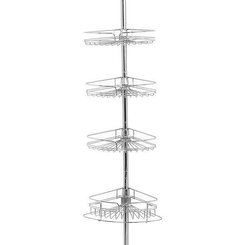 Zenna Home Chrome Finish Corner Tension Pole Tub & Shower Caddy