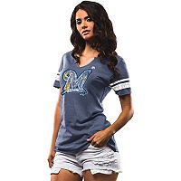 Women's Majestic Milwaukee Brewers Slugging Percentage Tee