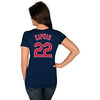 Women's Majestic Cleveland Indians Jason Kipnis Name and Number Tee