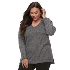 Plus Size Apt. 9® Mixed Ribbed V-Neck Sweater