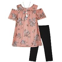 Girls 7-16 IZ Amy Byer Cold Shoulder Floral Top & Leggings Set with Necklace