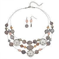 Composite Shell Multi Strand Necklace & Drop Earring Set