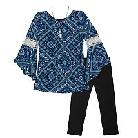 Girls 7-16 IZ Amy Byer Bell Sleeve Top & Leggings Set with Necklace