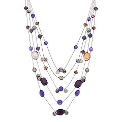Purple Bead Multi Strand Necklace