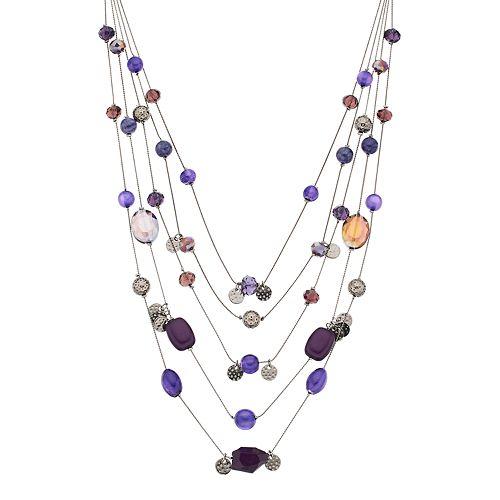 Purple Bead Multi Strand Necklace