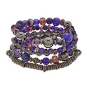 Purple Bead Multi Row Stretch Bracelet