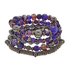 Purple Bead Multi Row Stretch Bracelet