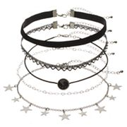 Mudd® Star Charm, Lace & Velvet Choker Necklace Set