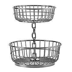 Gourmet Basics Chain 2-Tier Round Basket