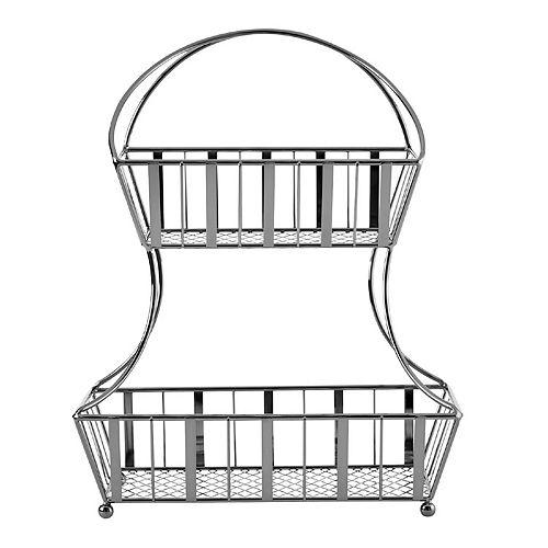 Gourmet Basics Band & Stripe 2-Tier Flatback Basket