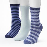Women's SONOMA Goods for Life™ 3-pk. Marled Stripe Crew Socks
