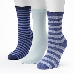 Women's SONOMA Goods for Life™ 3-pk. Marled Stripe Crew Socks