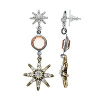 Simply Vera Vera Wang Tri Tone Starburst Nickel Free Linear Earrings