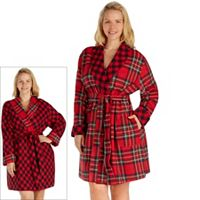 Plus Size Cuddl Duds Microfleece Reversible Robe