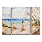 New View Beach Scene Canvas Wall Art 3 pc Set