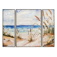 New View Beach Scene Canvas Wall Art 3 pc Set