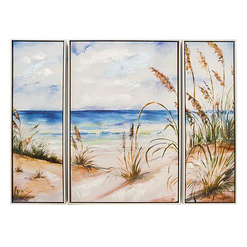 New View Beach Scene Canvas Wall Art 3-piece Set
