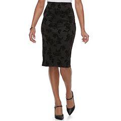 Women's Double Click Floral Velvet Midi Skirt