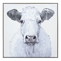 New View Cow Framed Canvas Wall Art