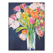 New View Flower Bouquet Framed Canvas Wall Art