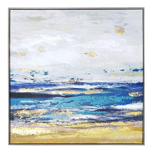 New View Metallic Shore Framed Canvas Wall Art