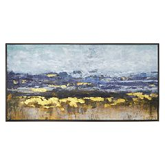 New View Metallic Abstract Framed Canvas Wall Art