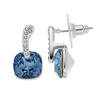 Brilliance Silver Plated Cushion Drop Earrings with Swarovski Crystals