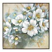 New View Metallic White Floral Framed Canvas Wall Art