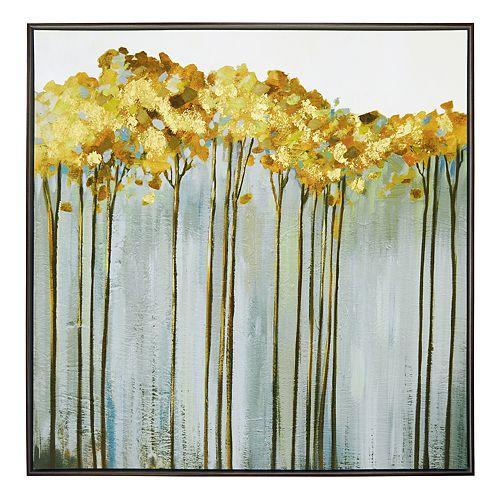 New View Metallic Golden Birch Framed Canvas Wall Art