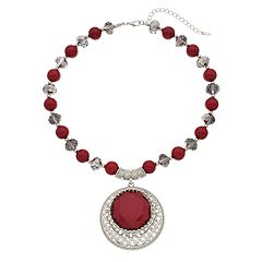 Red Bead Medallion Necklace