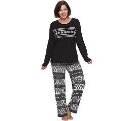 Women's Croft & Barrow® Pajamas: Tee & Fleece Pants PJ Set