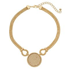 Circle Nickel Free Double Chain Statement Necklace