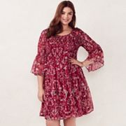 Plus Size LC Lauren Conrad Smocked Printed Fit & Flare Dress
