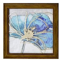 New View Metallic Teal Flower 1 Framed Wall Art