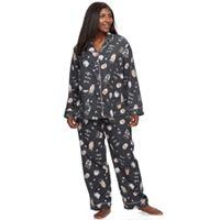 Plus Size Star & Skye Pajamas: Flannel Top & Pants PJ Set