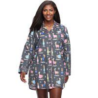 Plus Size Star & Skye Pajamas: Long Sleeve Flannel Sleep Shirt