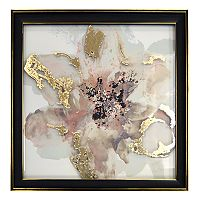 New View Metallic Abstract Gray Flower Framed Wall Art