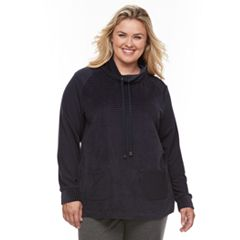 Plus Size Croft & Barrow® Funnel Neck Textured Tunic Sweatshirt