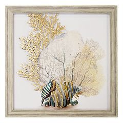 New View Metallic Coral & Striped Shells Framed Wall Art